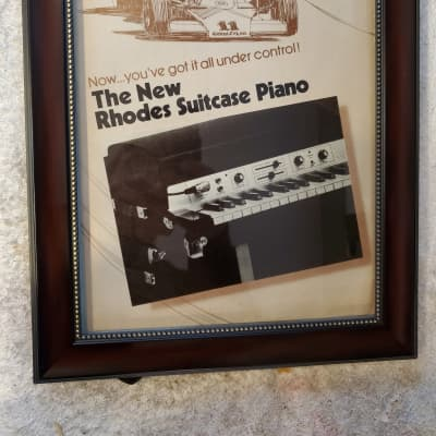 1977 Fender Rhodes Color Promotional Ad Framed New Suitcase Piano Original