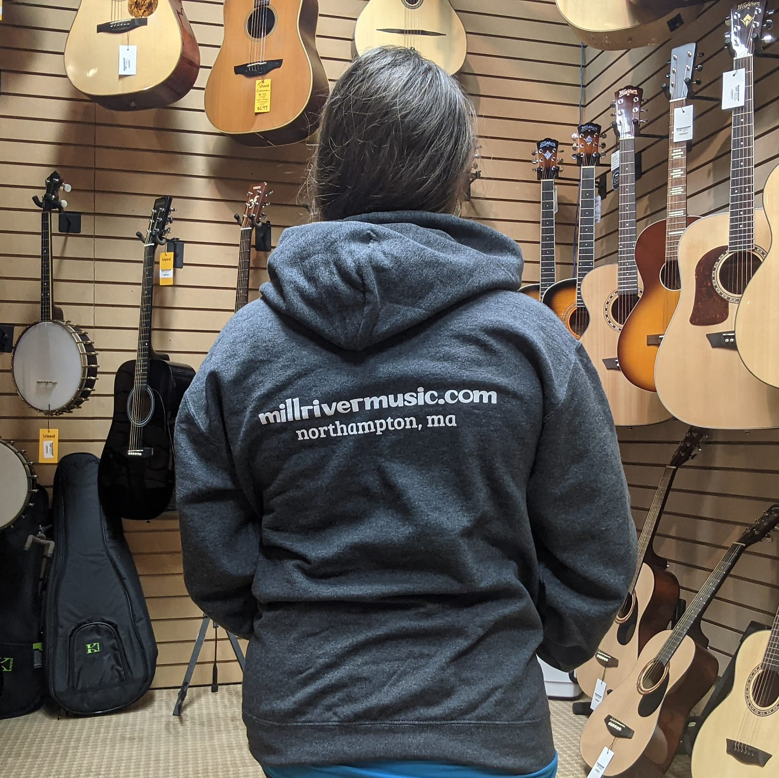 Mill River Music Pullover Hoodie 1st Edition Main Logo Unisex Ch Heather Small