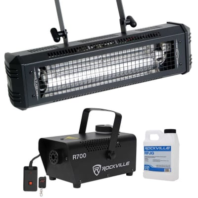 American DJ Mega Flash DMX 800W DMX Strobe Light w/ Sound Sensor + Fog Machine