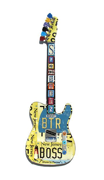 Bruce Springsteen - The Boss - Music room decor  Guitar art  License plate  art