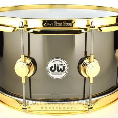 DW Collectors Black Nickel Over Brass Snare Drum 13x7 Gold Hardware image