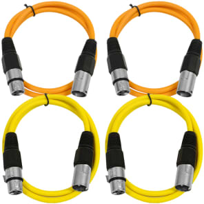 Seismic Audio SAXLX-3-2ORANGE2YELLOW XLR Male to XLR Female Patch Cable - 3' (4-Pack)