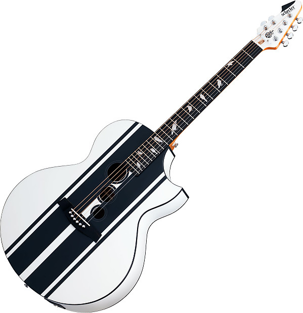 Acoustic Electric Guitars Useful Schecter Dj Ashba Signature Acoustic Electric Guitar Satin White