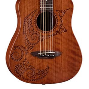 Luna Safari Tattoo Travel 3/4 Acoustic Guitar w/Gigbag for sale