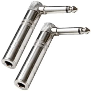 """Seismic Audio SAPT61-2PACK Right Angle 1/4"""" Male to Female Guitar Cable Adapters (Pair)"""
