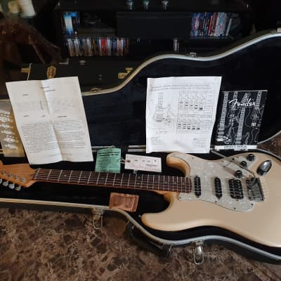Fender American Deluxe Stratocaster HSS 60th Anniversary USA Olympic White Strat S1 Cobalt Noiseless for sale