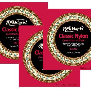 D'Addario EJ27N-3D Nylon 3/4 Classical Guitar Strings - Normal Tension (3-Pack)