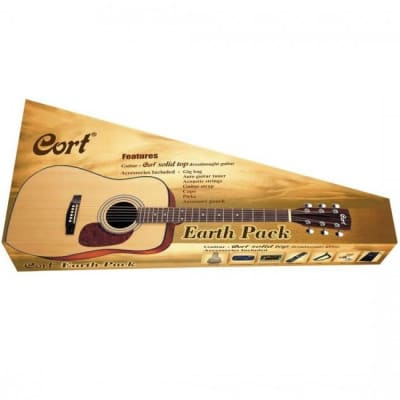 Cort Earth 70 Acoustic Guitar Satin Natural Dreadnought Pack w/ Bag & Tuner for sale