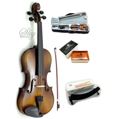 Sky Brand New Solid Wood Antique Viola Outfit with Lightweight Case, Bow and Rosin (13 Inch)