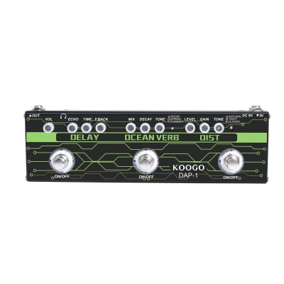 Koogo Guitar Multi-Effect Pedal Delay Ocean Verb Distortion 3-in-1 Series Analog Digital Effector