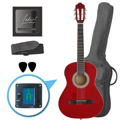 Artist CL34TRD 3/4 Size Classical Guitar Pack, Nylon String - Red for sale