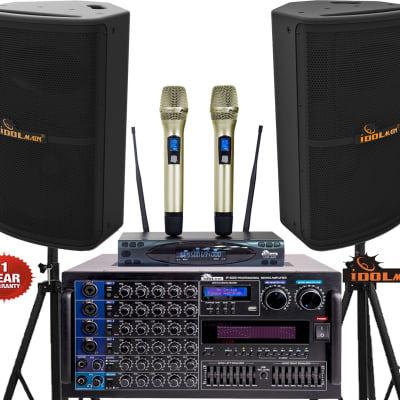 IDOLmain 6000W Pro Mixing Amplifier & Speakers & Dual Wireless Microphones Karaoke