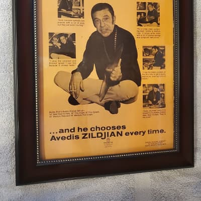 1970 Zildjian Cymbals promotional Ad Framed Buddy Rich Original