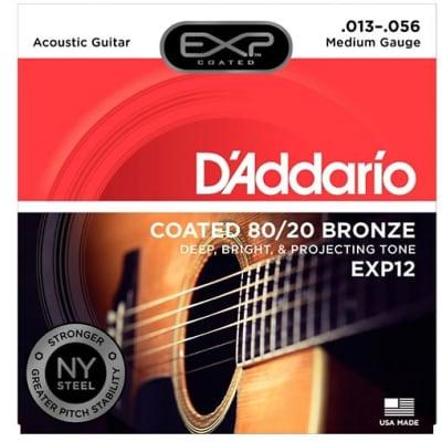 D'Addario EXP12 Coated 80/20 Bronze Medium Acoustic Guitar Strings