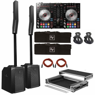 Pioneer DJ DDJ-SR2 Portable 2-Channel Serato DJ Controller with Electro-Voice Evolve 50 Portable Column PA Systems Package