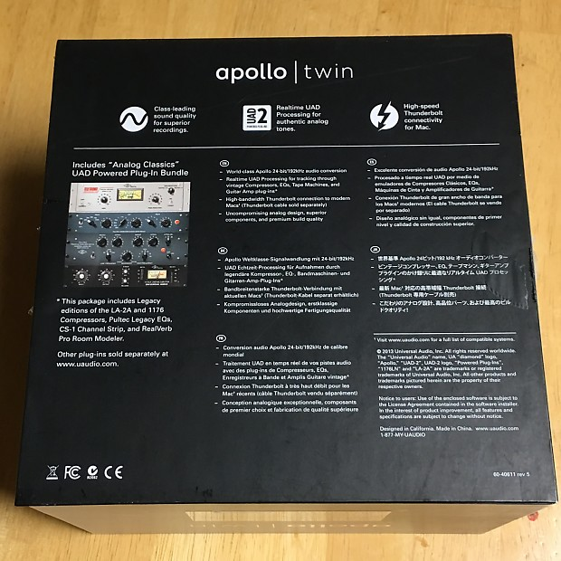 Universal Audio Apollo Twin Duo w/ 29 UAD Plugins Collection Neve 1176  Ampex Thunderbolt Interface