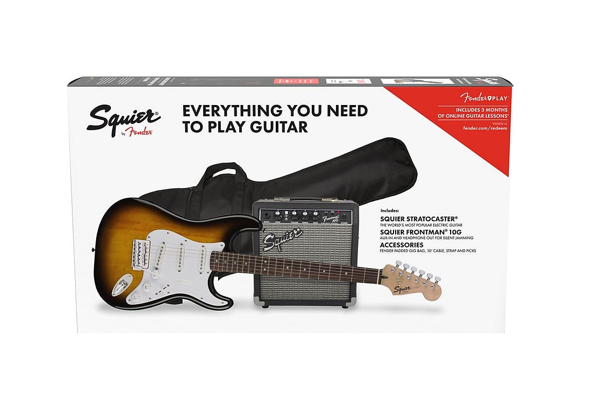 Squier 0371823032 Stratocaster Pack, Laurel Fingerboard, Brown Sunburst, Gig Bag & Amp 2020