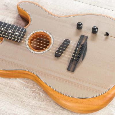 Fender American Acoustasonic Telecaster Guitar, Ebony Fingerboard, Sonic Gray