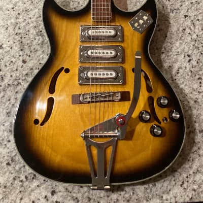 Apollo Hollow Body Electric Guitar  1969 Made in Japan Sunburst for sale
