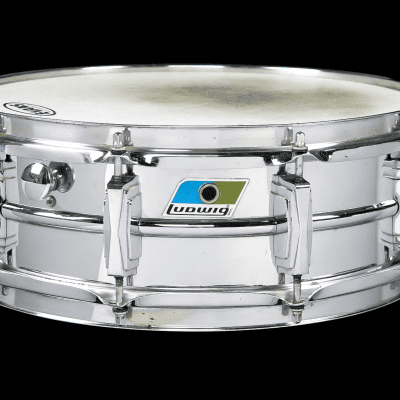 "Ludwig No. 406 ""B Stamp"" Supraphonic 5x14"" Chrome Over Brass Snare Drum with Cut Blue/Olive Badge 1970 - 1972"