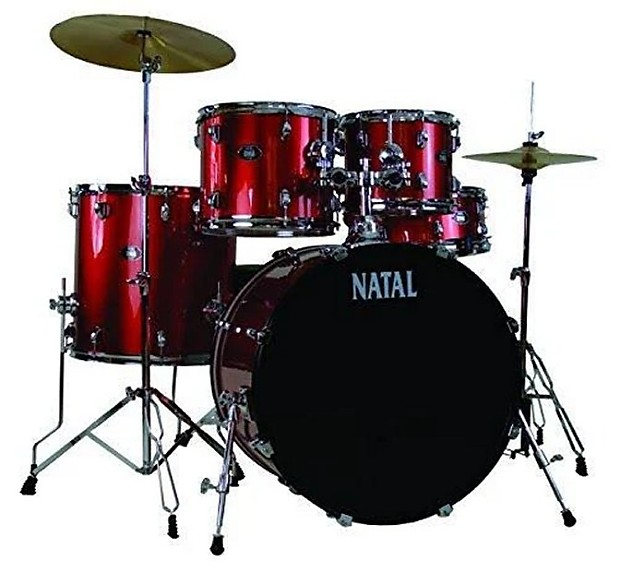 Natal Dna Uf22 Red 5 Piece Drumset W Hardware Cymbals Reverb