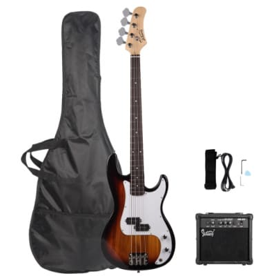 Glarry GP Electric Bass Guitar Sunset w/ 20W Amplifier for sale
