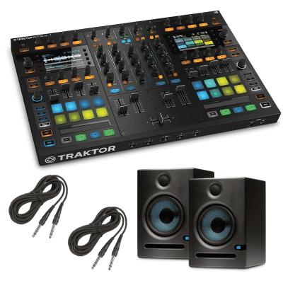 Native Instruments Traktor Kontrol S8 DJ Digital Controller -  Presonus Eris E5 Pair - Pair of High-Definition 2-way 5.25 inch Near Field Studio Monitors and Cables