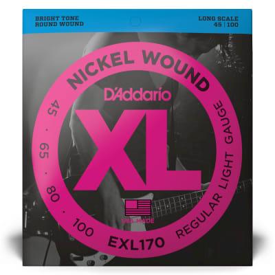 D'Addario EXL170 Nickel Wound Bass Strings Light Gauge/Long Scale 45-100