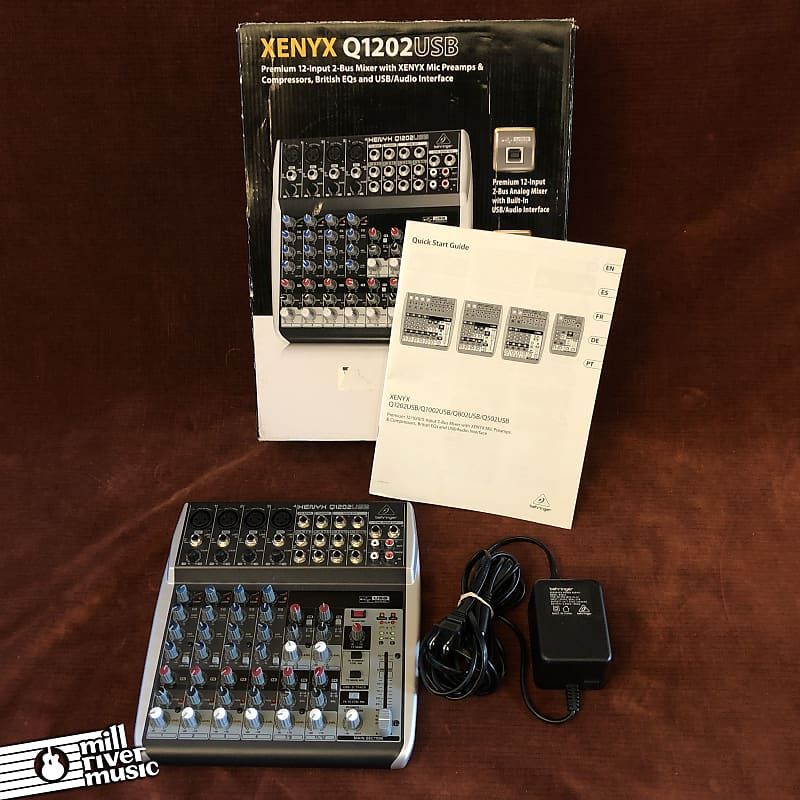 Behringer Xenyx Q1202USB 12-Input 2-Bux USB Mixer w/ Box & Power Supply