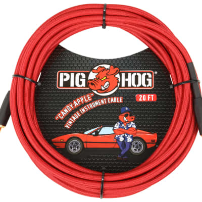 """Lifetime Warranty! Pig Hog PCH20CA Candy Apple Red 1/4"""" / 1/4"""" Instrument Cable - 20'"""