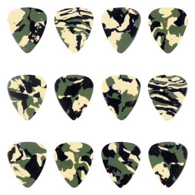 Celluloid Woodland Camo Guitar Or Bass Pick - 0.96 mm Heavy Gauge - 351 Shape - 12 Pack New