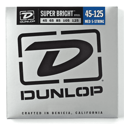 Dunlop DBSBS45125 Super Bright Stainless Steel 5-String Bass Strings - Medium (45-125)