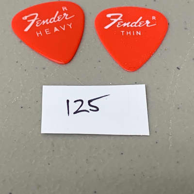 """(2) Two Fender 351 Guitar Picks Vintage USA 1970's Red Heavy & Thin Uncircled """"R"""" (125)."""