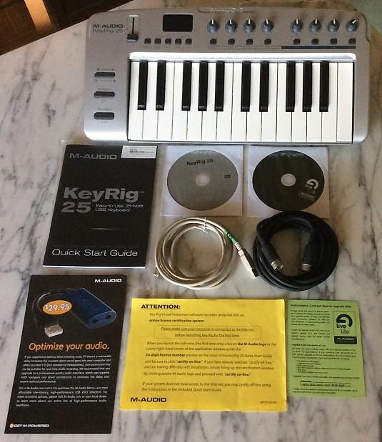 M-Audio KeyRig 25 with Original Hardware/Software Disks, USB & Midi Cable  Live Lite 6!