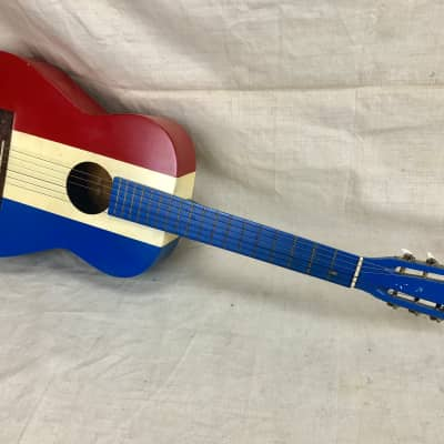 Vintage 1960's Harmony Red White & Blue Nylon String Acoustic Guitar Buck Owens for sale