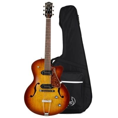 Godin (032327) 5th Avenue CW Kingpin 2 Hollowbody Electric Guitar Cognac Burst with Case
