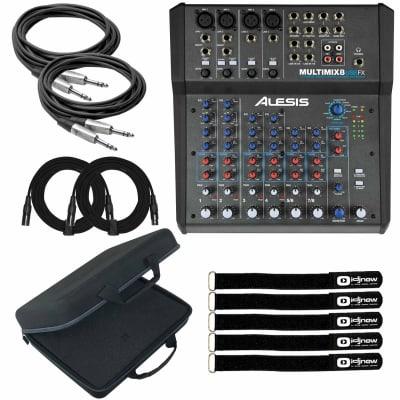 Alesis MultiMix 8 USB FX 8-Channel USB Desktop Podcast Mixer w Case & Cables