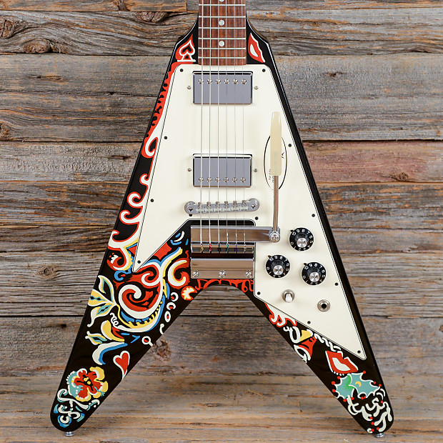 gibson custom shop flying v jimi hendrix psychedelic black reverb. Black Bedroom Furniture Sets. Home Design Ideas
