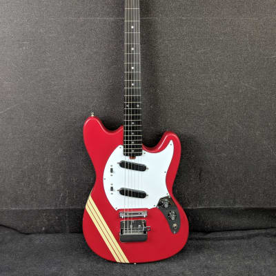 Memphis Mustang Electric Guitar Red w/ White Racing Stripes for sale