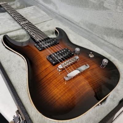 ESP E-II Horizon Flame Maple Top Electric Guitar, Dark Brown Sunburst W/Case - Factory Blem for sale