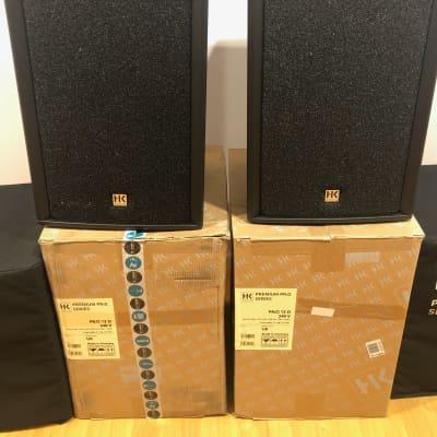 "HK AUDIO PREMIUM PRO 12 D 1200w Active 12"" PA Speaker System Pair w/covers"