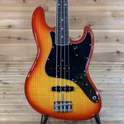 Fender Rarities Flame Ash Top Jazz Bass Electric Bass Guitar - Plasma Red Burst