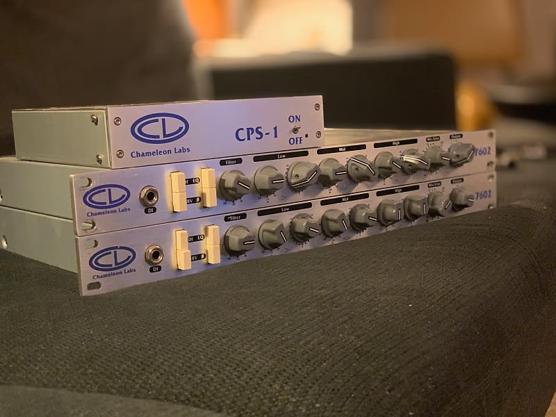 chameleon labs 7602 preamp and eq pair with psu neve clone reverb. Black Bedroom Furniture Sets. Home Design Ideas