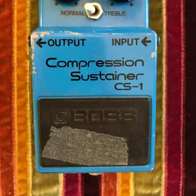 Boss CS-1 Compression Sustainer (Black Label)metal screw Japan. 1978 - 1982 ink stamped serial number