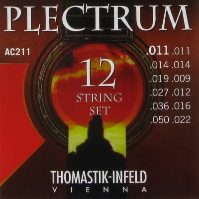 Thomastik-Infeld AC211 Plectrum 12-String Plain Steel Acoustic Guitar Strings - Light (.11 - .50)