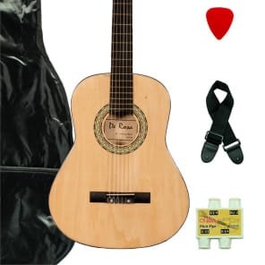 De Rosa DKF36-NT Kids Classical Guitar Outfit Natural w/Gig Bag, Strings, Pick, Pitch Pipe & Strap for sale