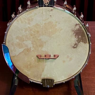 Bishline Custom Presentation Openback Five String Banjo, Navy Theme, Maple Block Rim, White Laydie style tone ring. for sale
