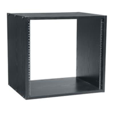 Middle Atlantic RK12: 12-space black woodgrain laminate outboard rack