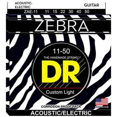 DR Zebra Acoustic Electric Strings - Custom Light - 11-50
