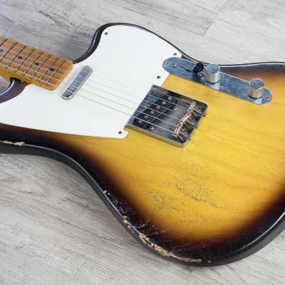 Rock N Roll Relics Jazz Bastard Electric Guitar Medium Aged 2-Tone Burst Tobacco for sale